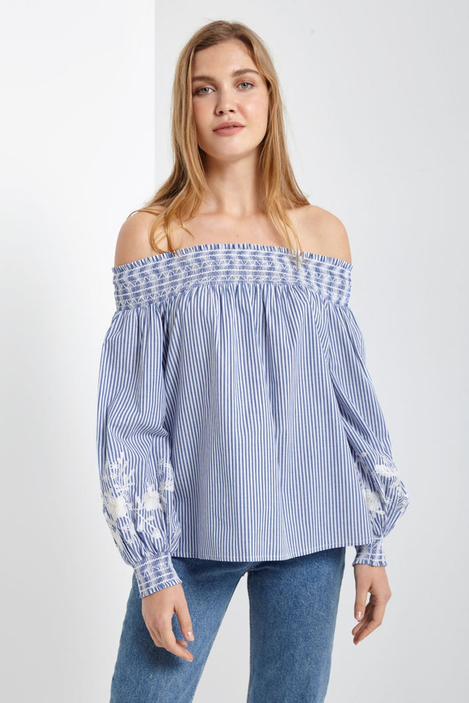 Poshsquare Tops S / Blue Pinstripes Off The Shoulder Embroidered Pinstripe Blouse