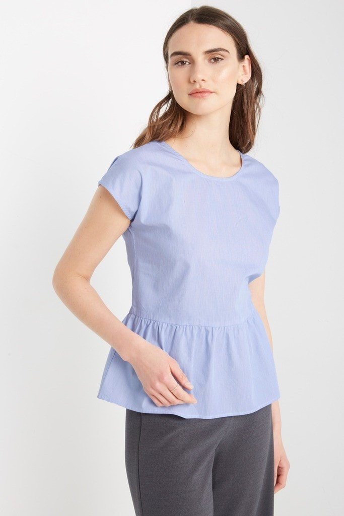 Poshsquare Tops S / Blue Praver Peplum Bow Back Top