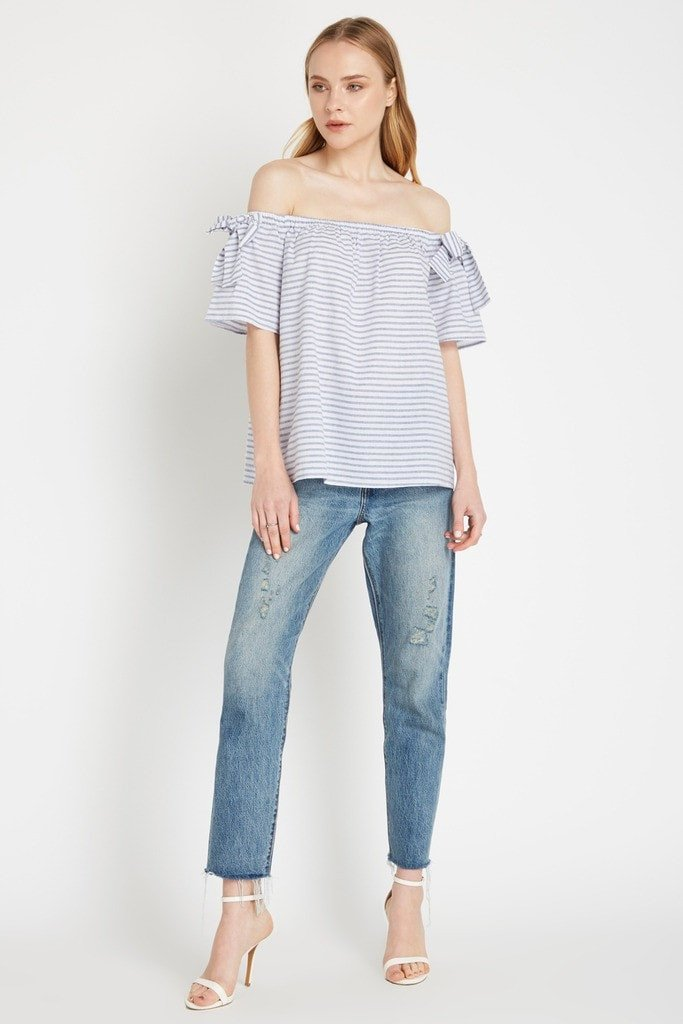 Poshsquare Tops S / Blue Stripe Hudson Off the Shoulder Top