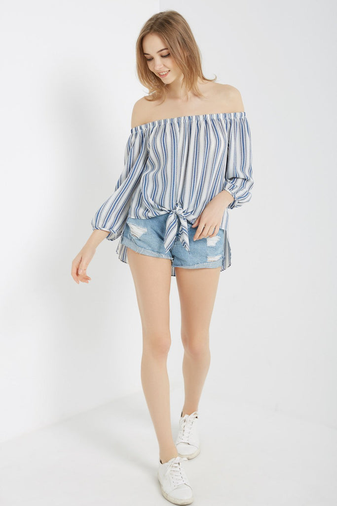 Poshsquare Tops S / Blue Striped Off the Shoulder Top