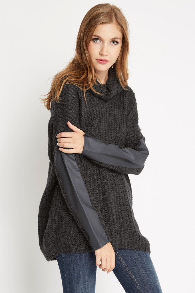 Poshsquare Tops S / Charcoal Bundled Up Chunky Turtleneck Sweater