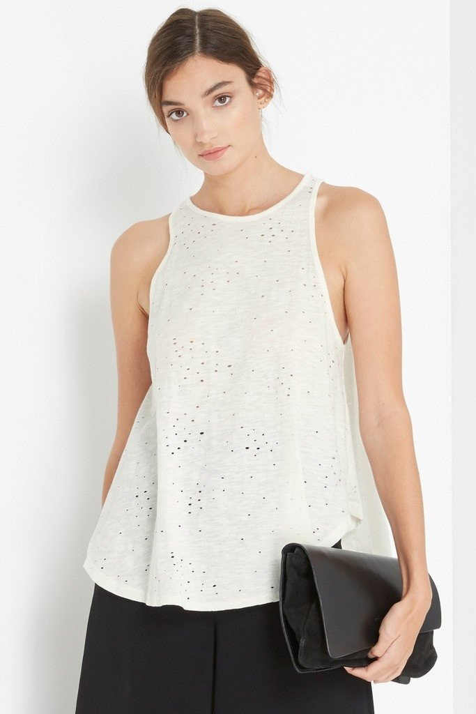 Poshsquare Tops S / Cream Cream Distressed Tank Top