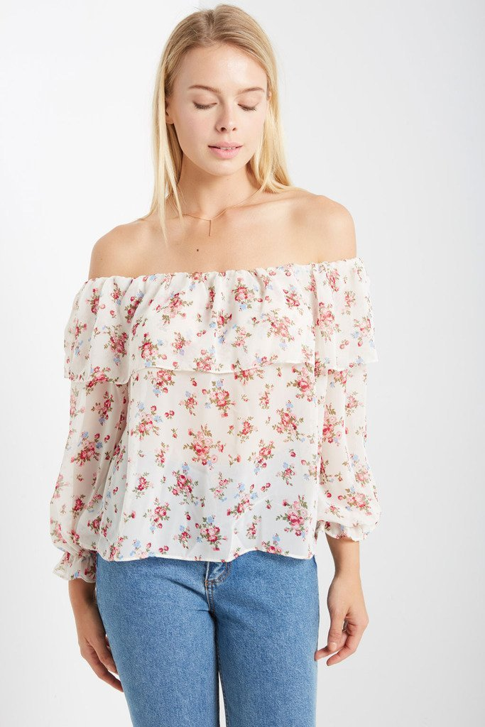 Poshsquare Tops S / Cream Floral Prints Rose Prose Off the Shoulder Top