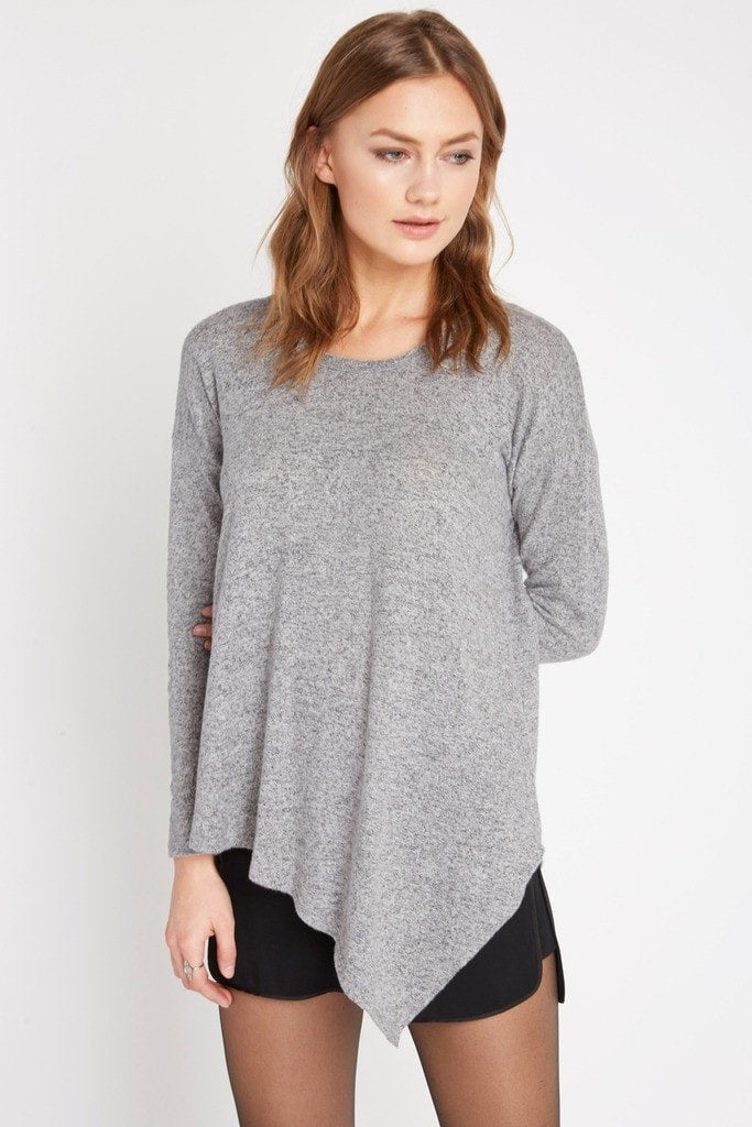 Poshsquare Tops S / Grey Asymmetrical Heathered Sweater Top