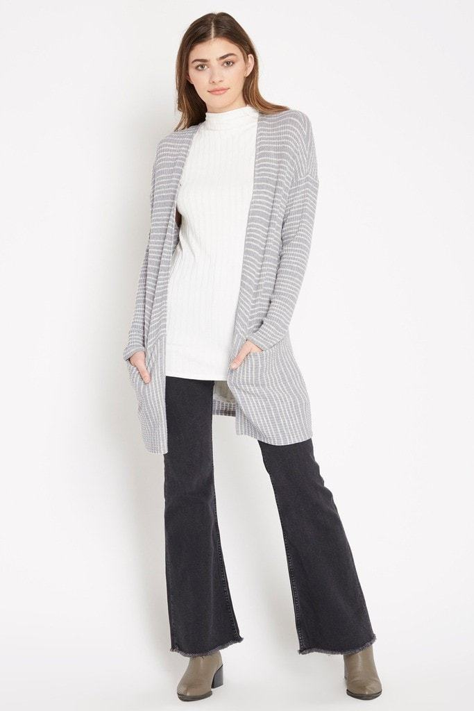 Poshsquare Tops S / Grey Casualty Stripe Cardigan Sweater