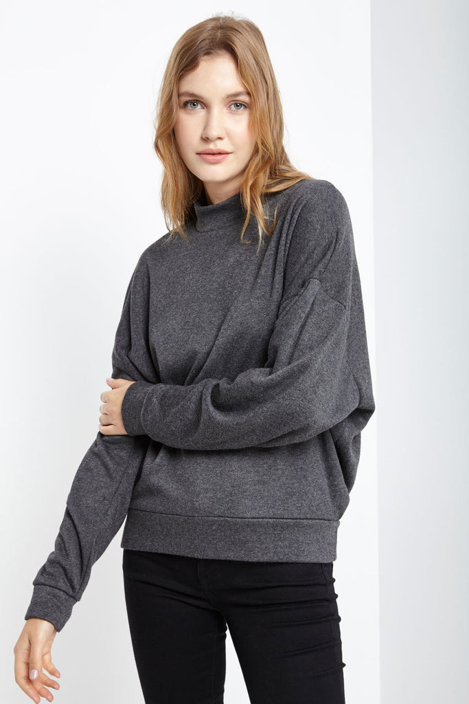 Poshsquare Tops S / Heather Charcoal Nica Mock Neck Long Sleeve Sweater Top