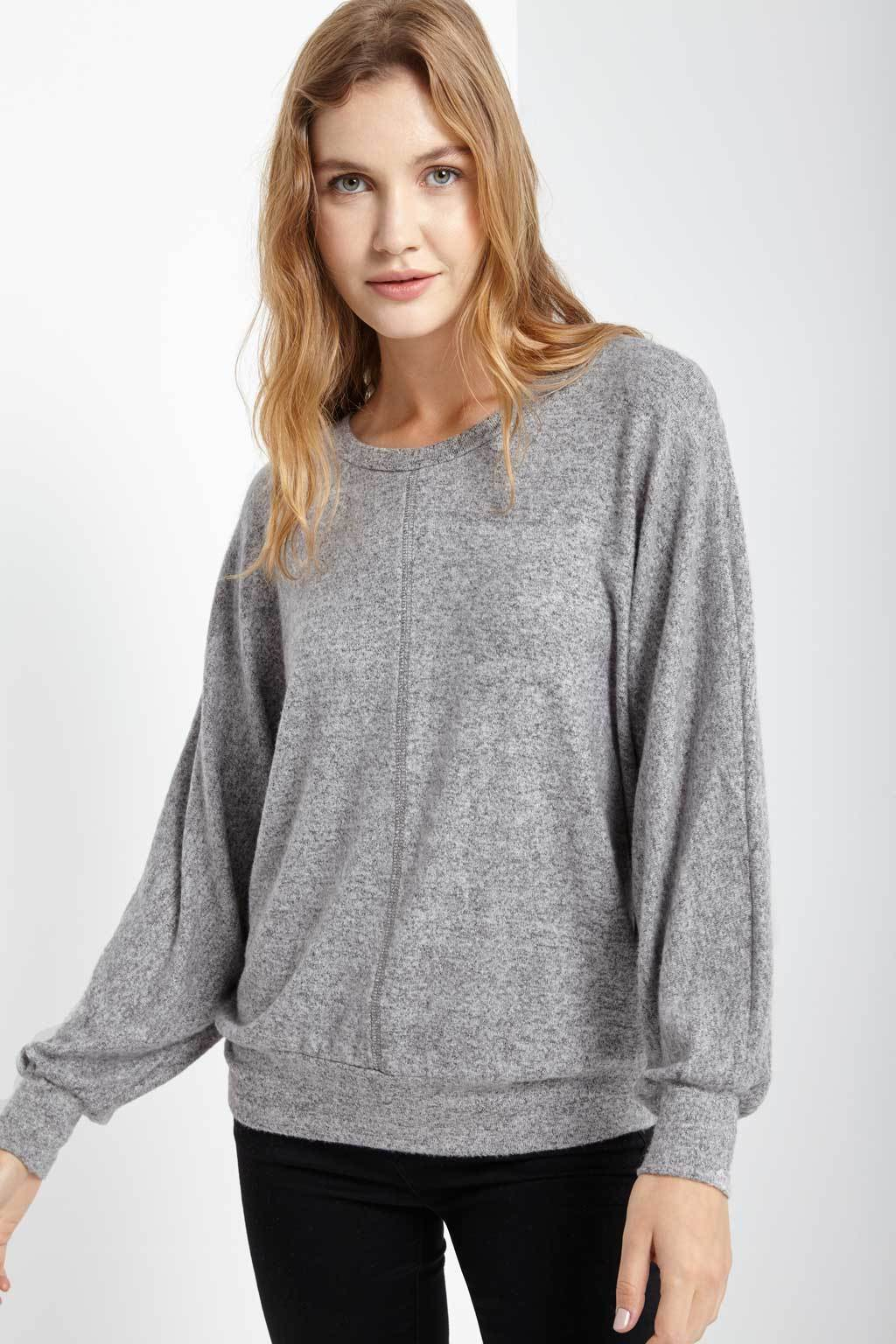 Poshsquare Tops S / Heather Grey Wells Dolman Sleeve Top