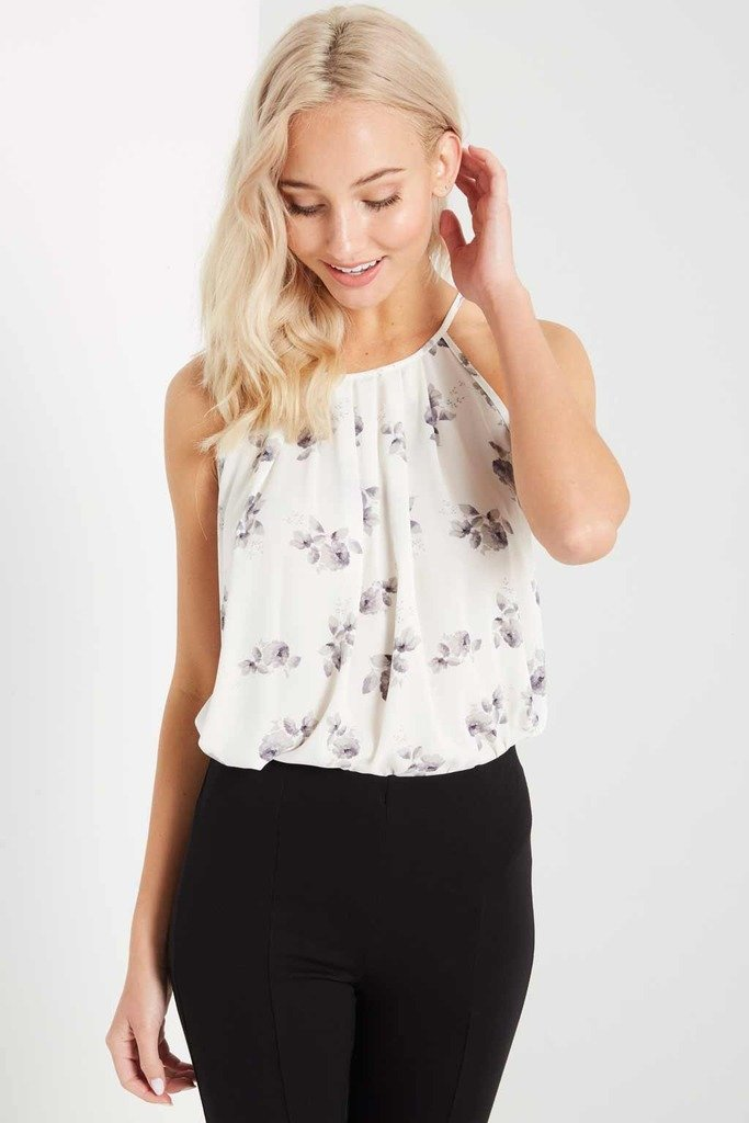 Poshsquare Tops S / Ivory Ivory Floral Tank