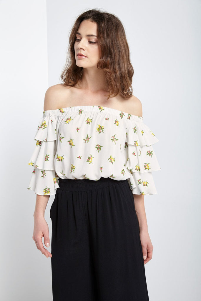 Poshsquare Tops S / Ivory Off The Shoulder Ruffle Sleeve Blouse