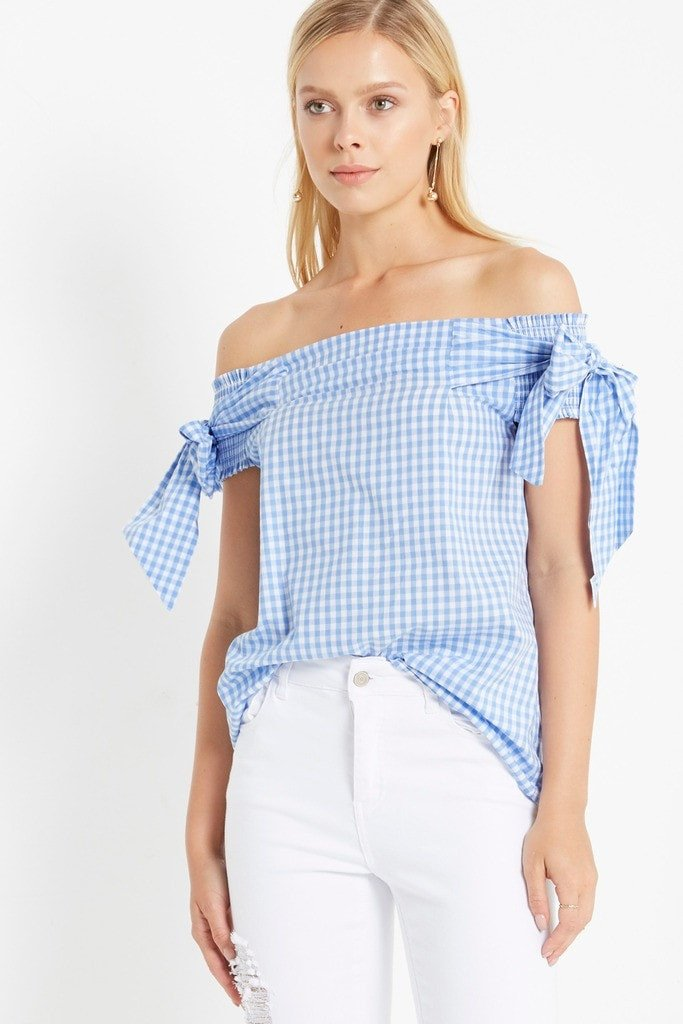 Poshsquare Tops S / Light Blue Gingham Jamie Off the Shoulder Top
