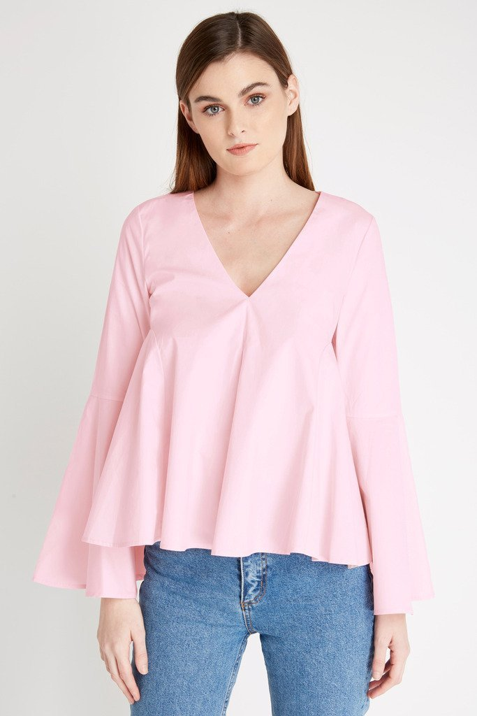 Poshsquare Tops S / Light Pink White Simplicity Long Sleeve Top