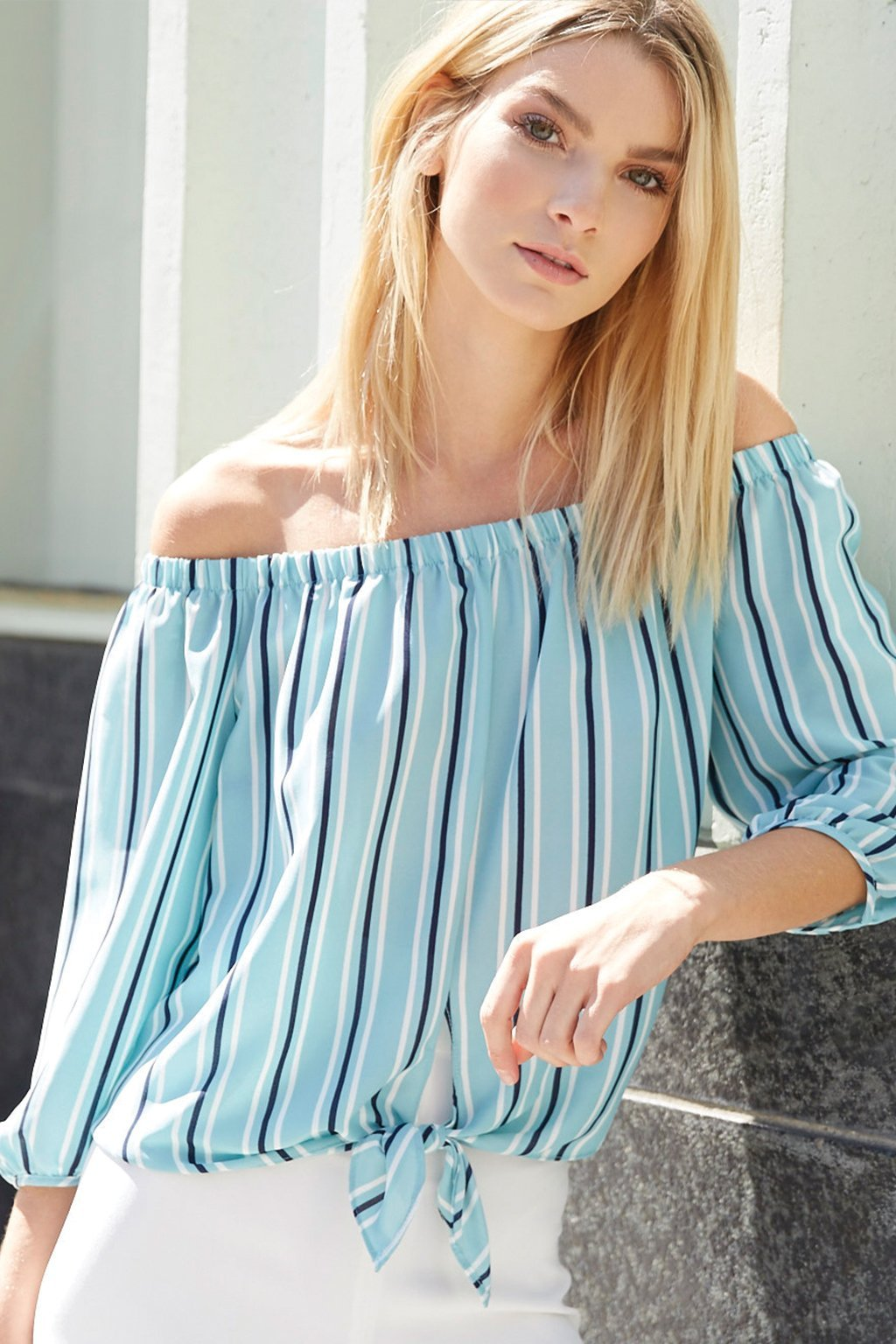 Poshsquare Tops S / Mint Milan Striped Off the Shoulder Top