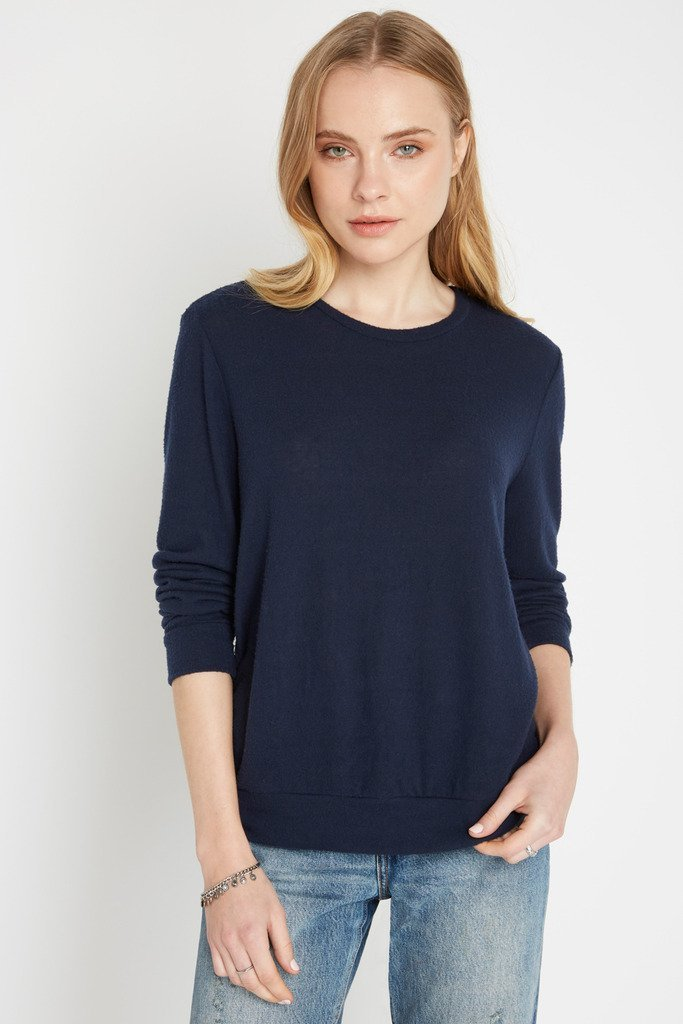 Poshsquare Tops S / Navy Always Cozy Brushed Pullover Sweater