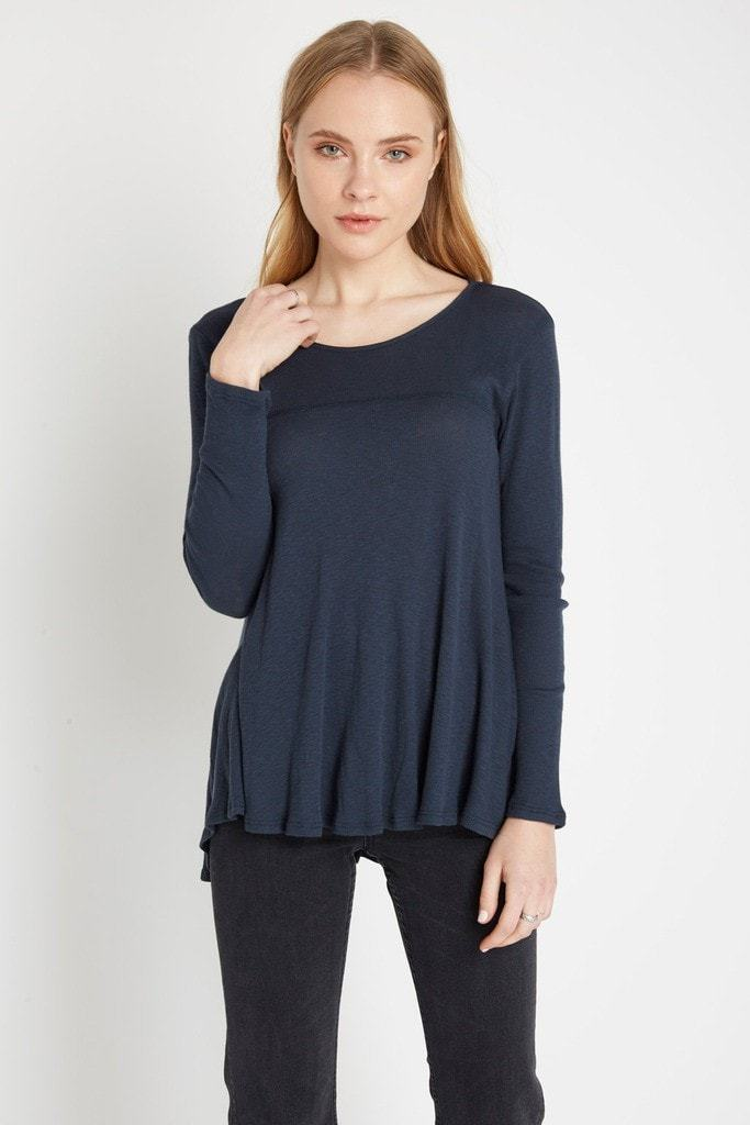Poshsquare Tops S / Navy Blue Eden Ribbed Long Sleeve Top