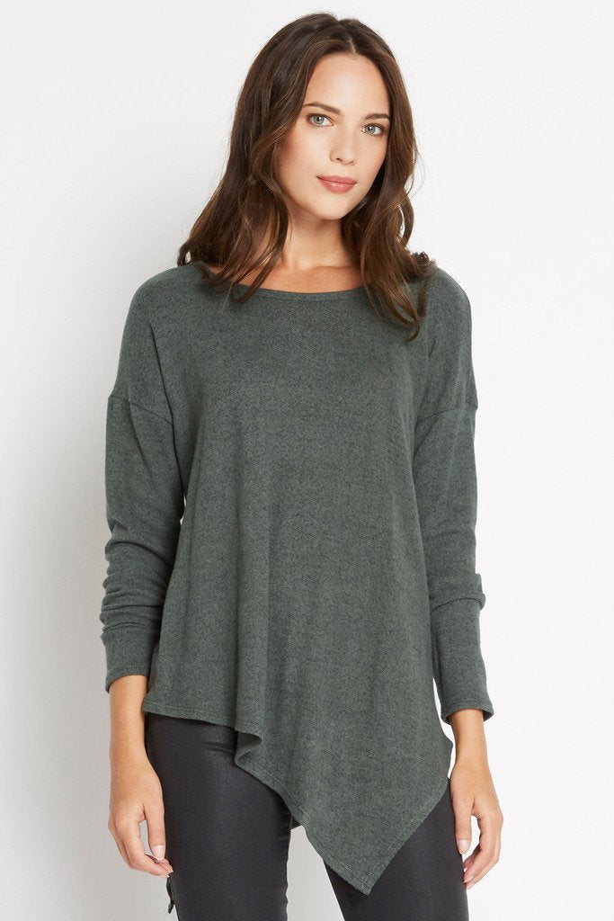 Poshsquare Tops S / Olive Olive To The Point Asymmetrical Knit Sweater