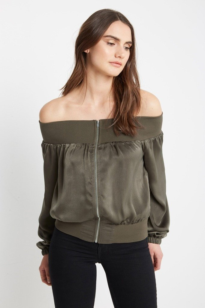 Poshsquare Tops S / Olive Ritter Satin Off the Shoulder Top