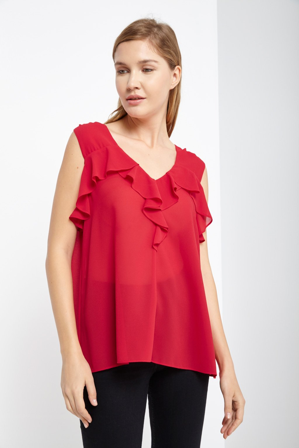 Poshsquare Tops S / Red Lima Ruffle Tie Top