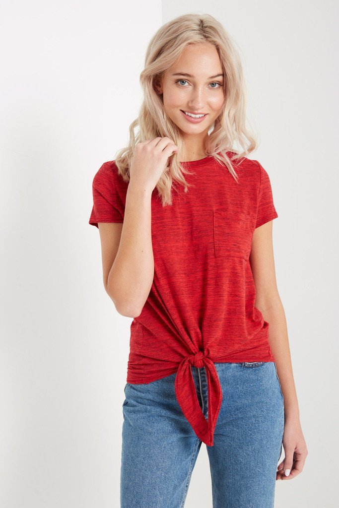 Poshsquare Tops S / Red Necessary Tie Front T Shirt