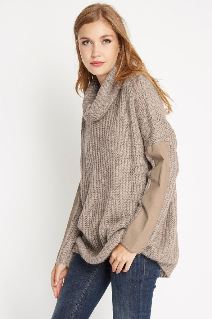 Poshsquare Tops S / Taupe Bundled Up Chunky Turtleneck Sweater