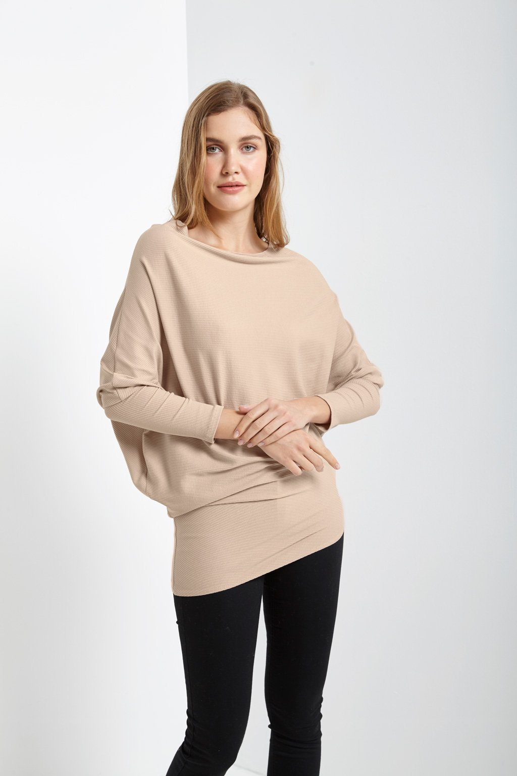 Poshsquare Tops S / Taupe Ribbed Asymmetrical Sweater Top
