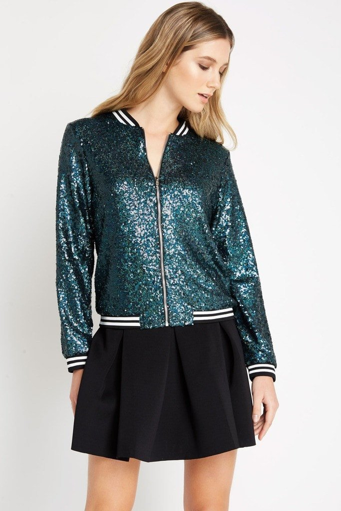 Poshsquare Tops S / Teal Teal Varsity Sequin Bomber