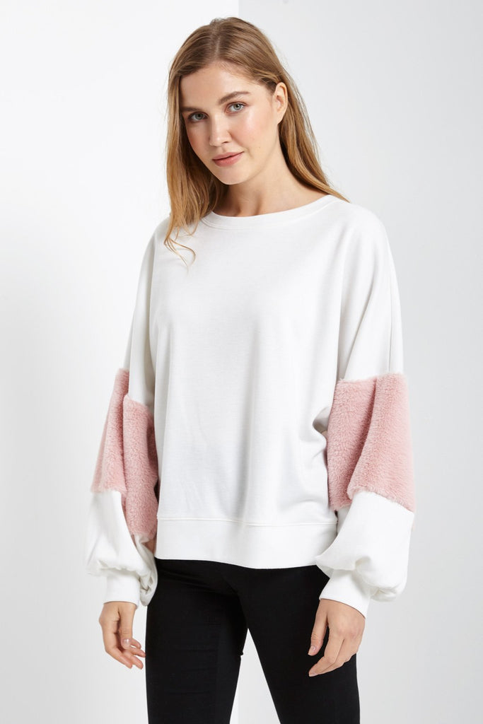 Poshsquare Tops S / White Fuzzy Sleeve Top