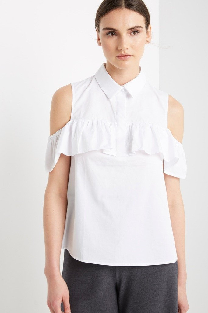 Poshsquare Tops S / White Jaded White Cold Shoulder Top