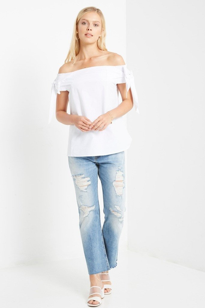 Poshsquare Tops S / White Jamie Off the Shoulder Top