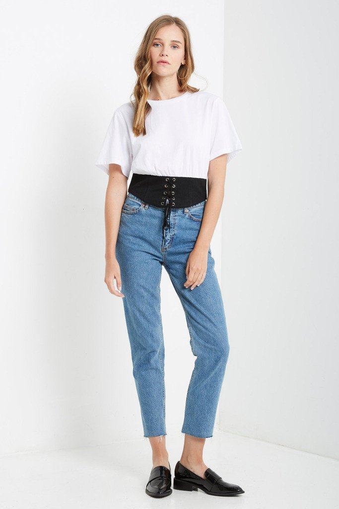 Poshsquare Tops White Bustier Detail T Shirt