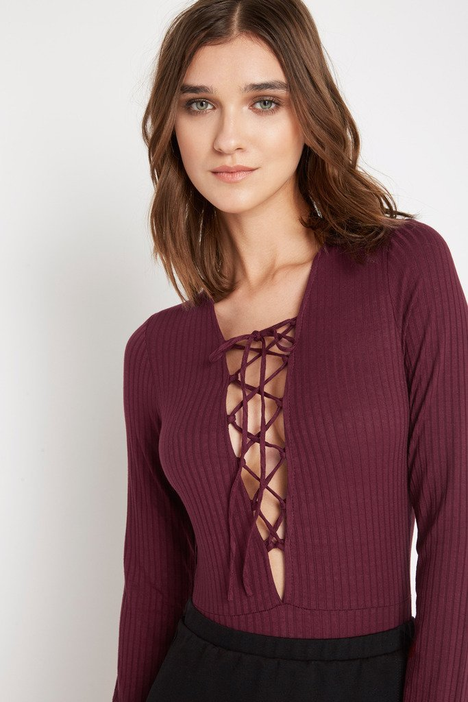 Poshsquare Tops S / Wine Underneath It All Lace Up Bodysuit
