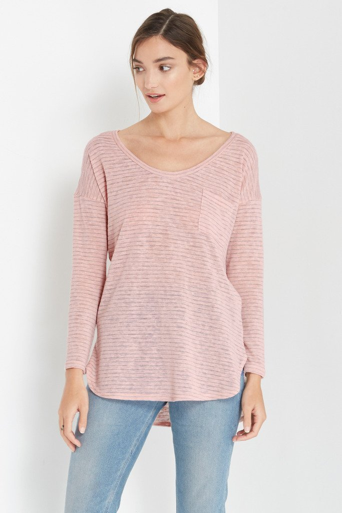 Poshsquare Tops Striped Essential Long Sleeve Knit Top