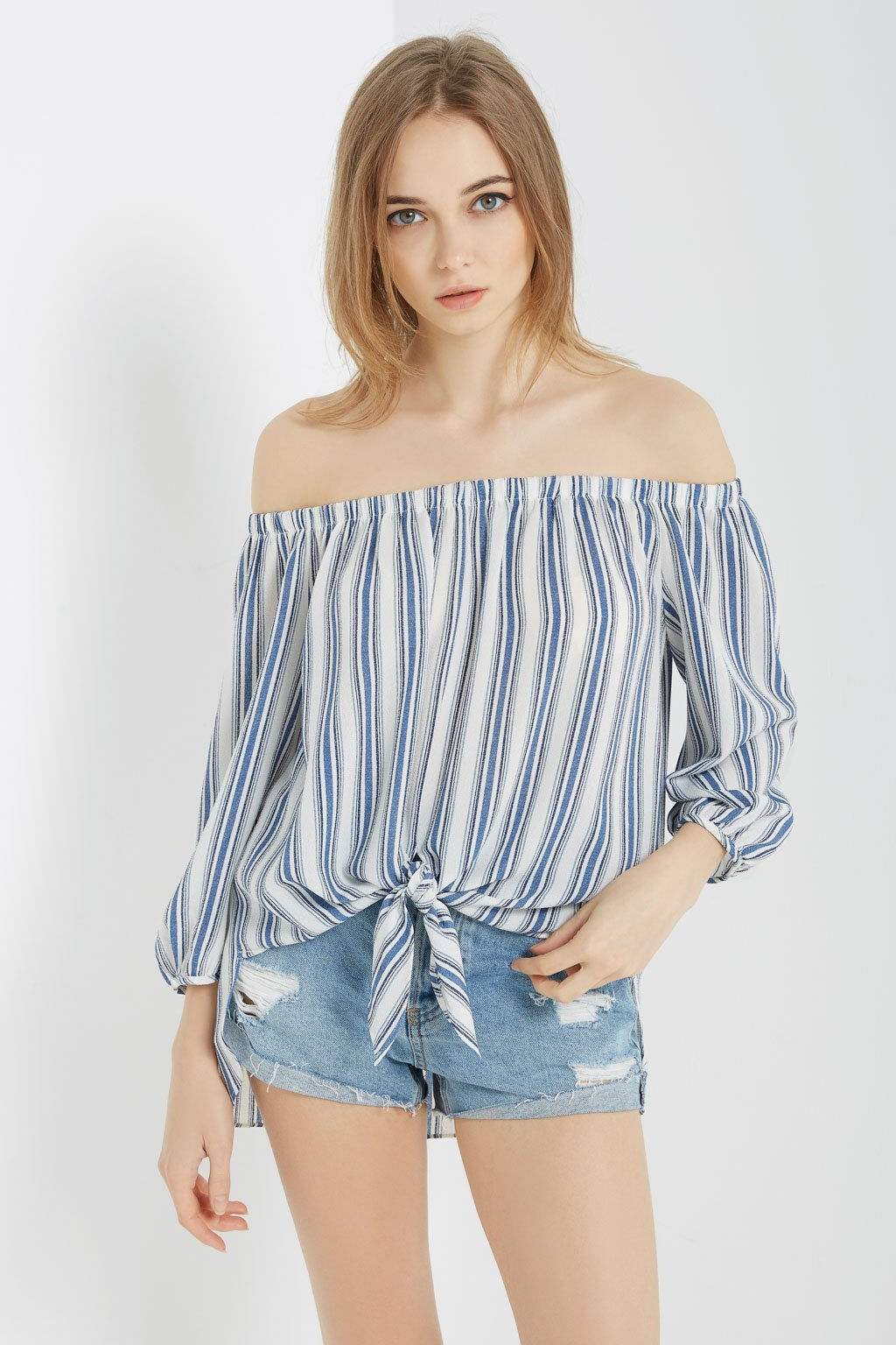 Poshsquare Tops Striped Off the Shoulder Top