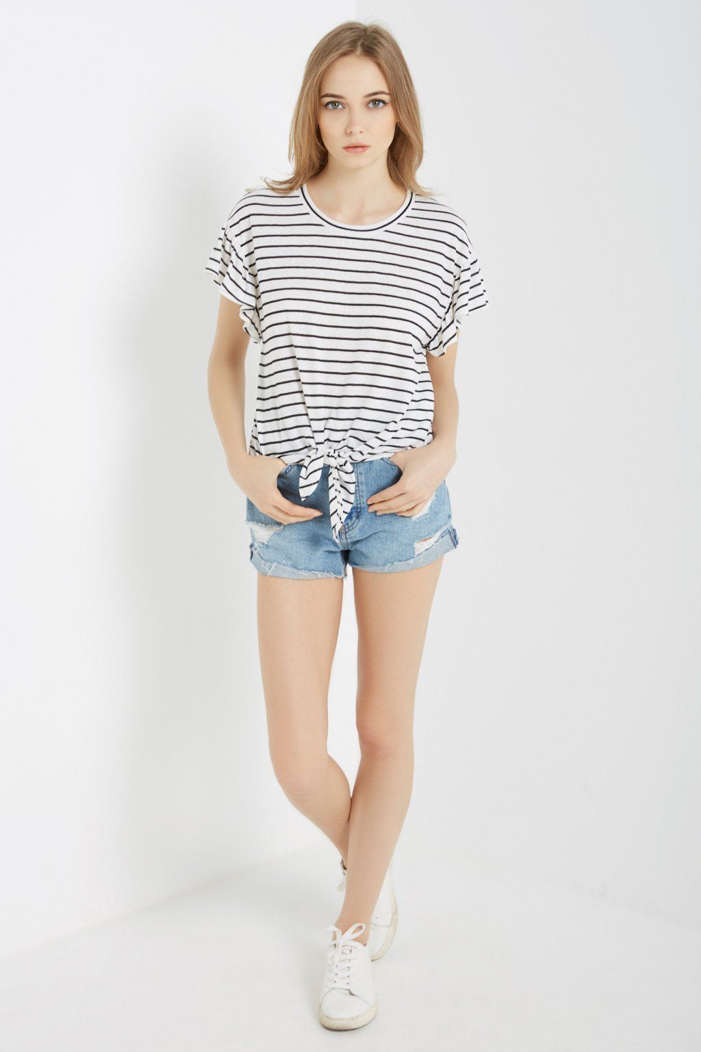Poshsquare Tops Striped Tie-Front Tee