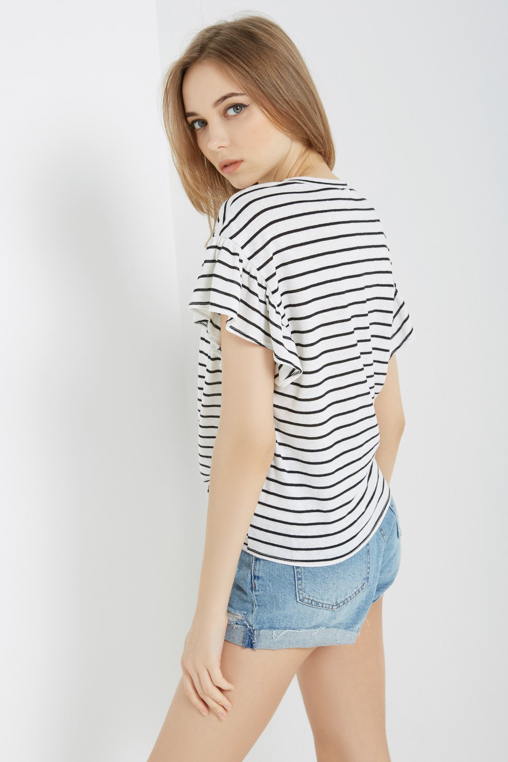 Poshsquare Tops S / White Striped Tie-Front Tee