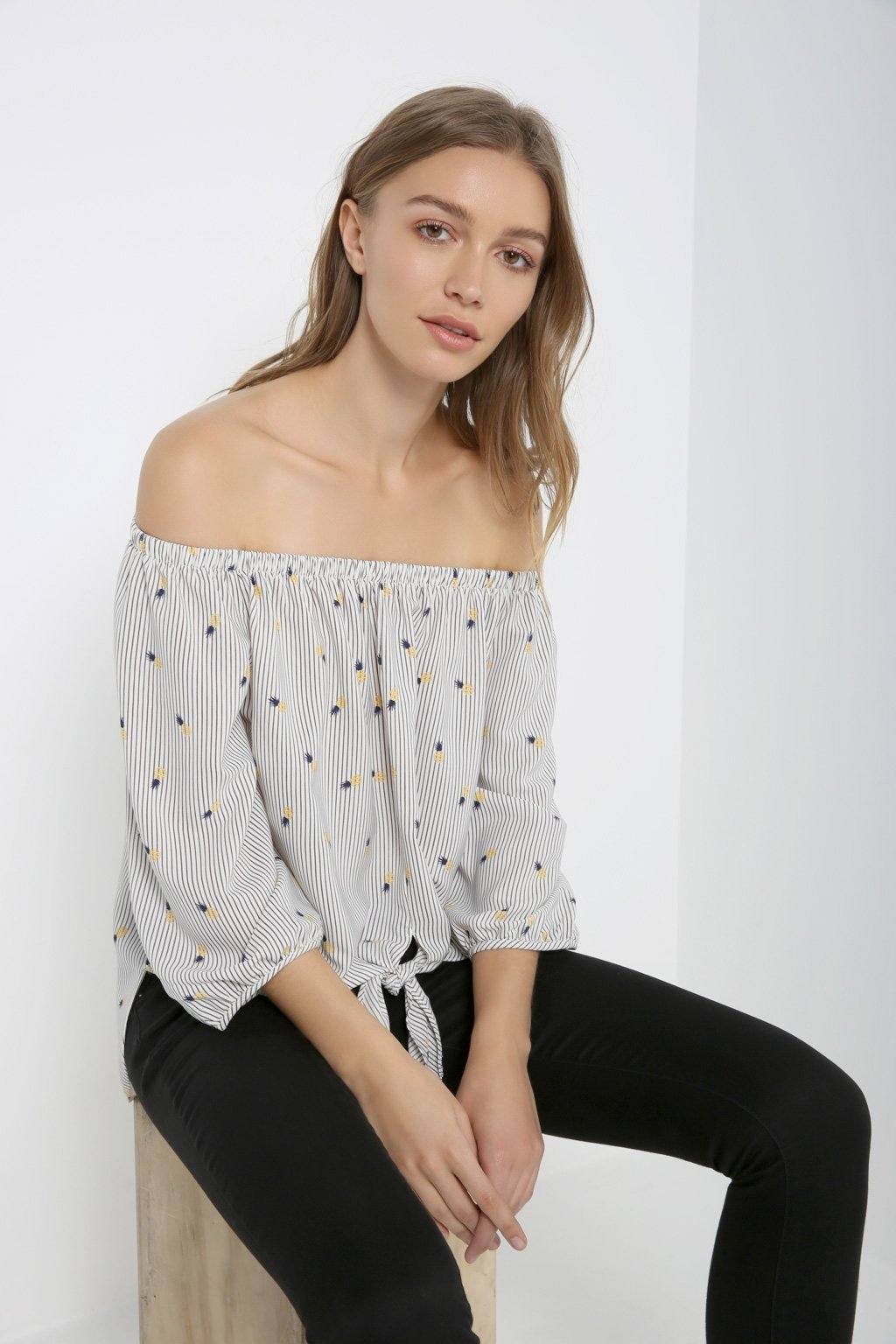 Poshsquare Tops Tie-Front Off the Shoulder Top