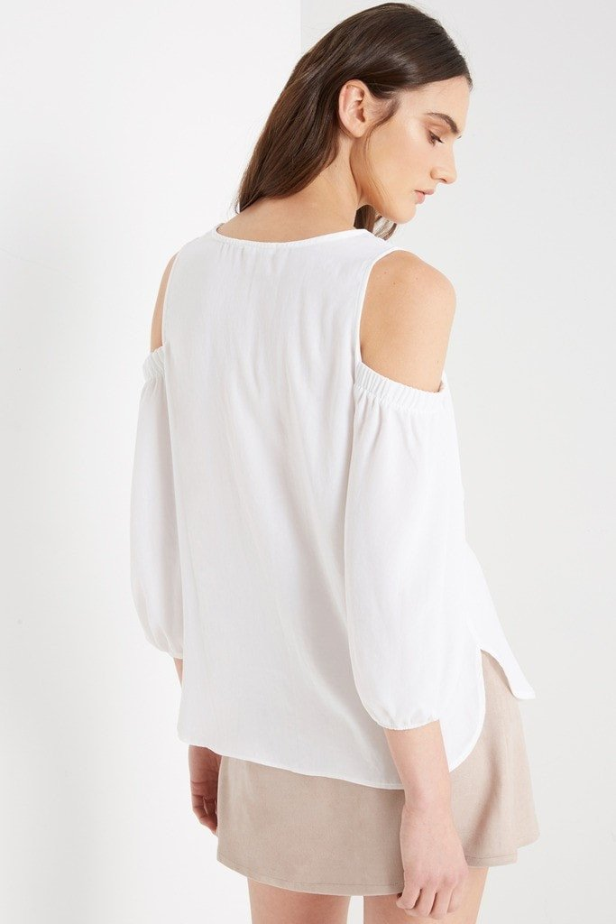Poshsquare Tops White Everly Cold Shoulder Bubble Sleeve Top