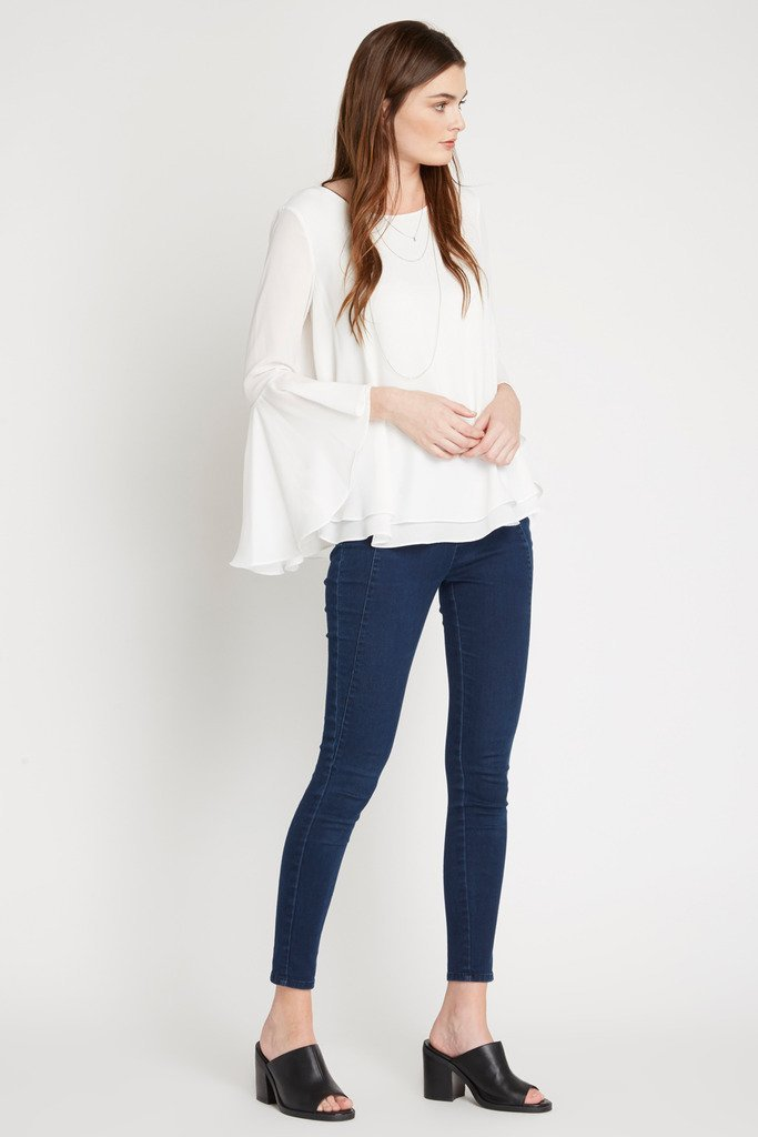 Poshsquare Tops White Flair Bell Sleeve Top