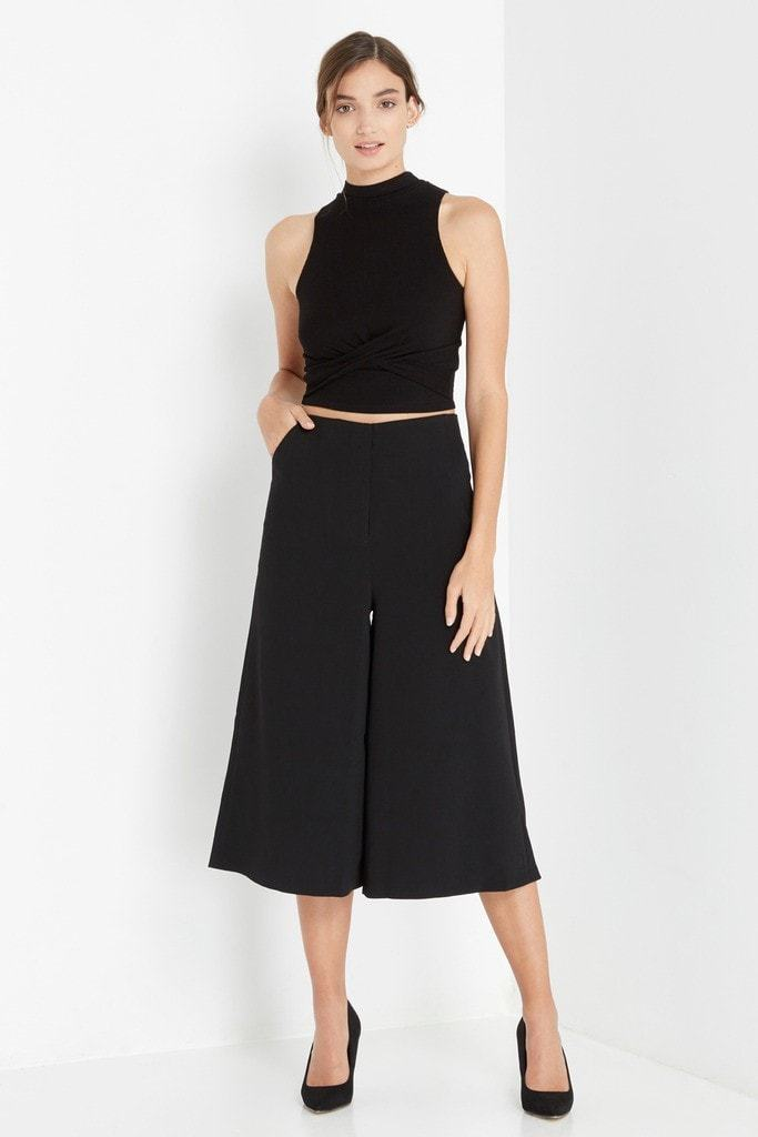 Poshsquare Tops Black Ribbed Twist Front Crop Top