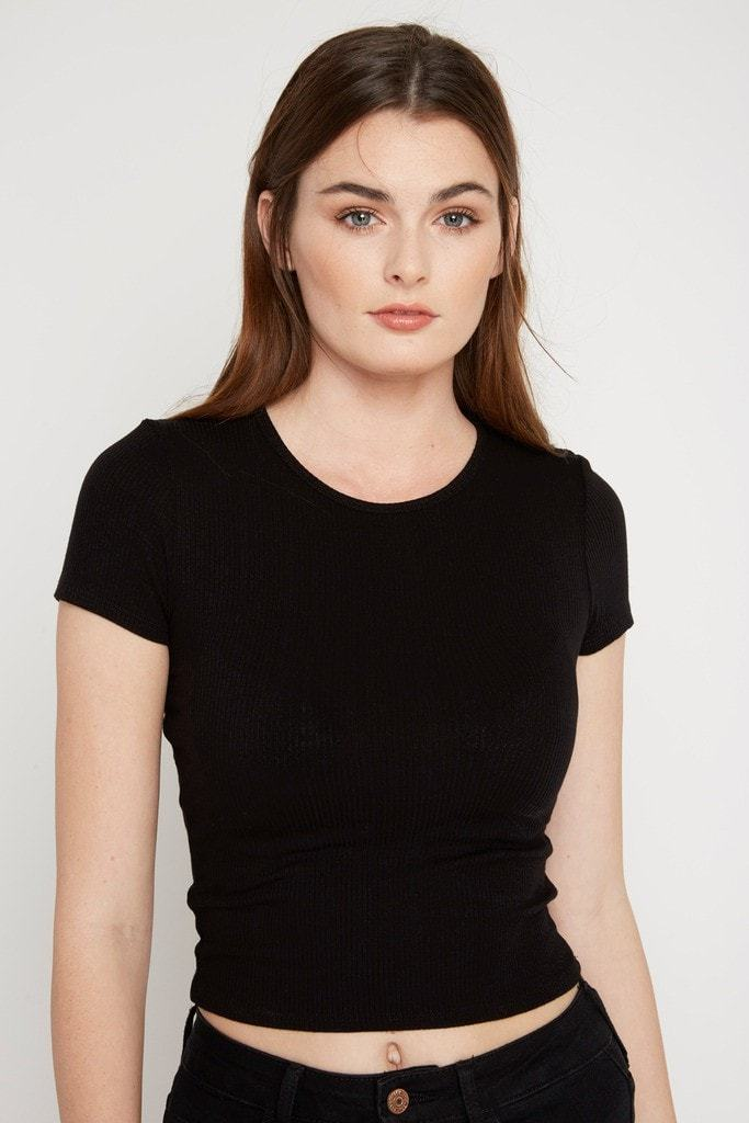 Poshsquare Tops XS / Black Laine Ribbed Crop Top
