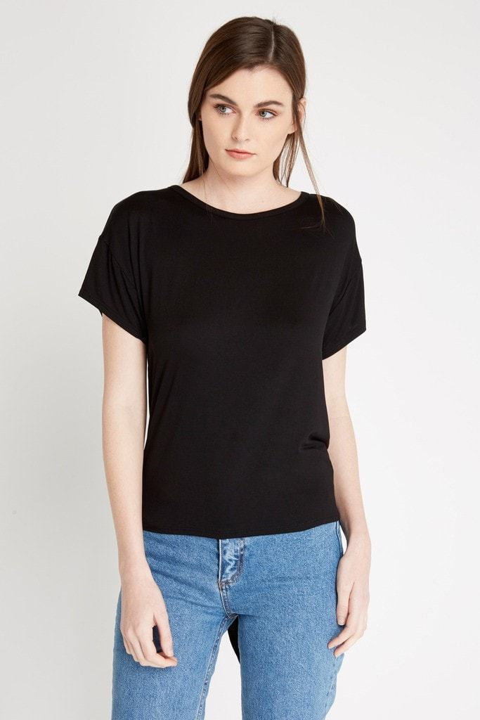 Poshsquare Tops XS / Black Tie Back T Shirt