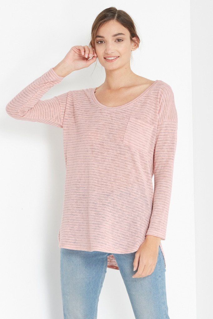 Poshsquare Tops XS / Pink Striped Essential Long Sleeve Knit Top