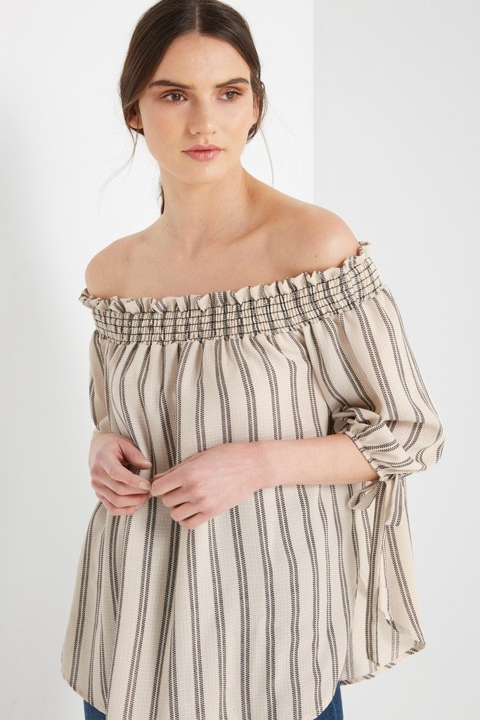 Poshsquare Tops XS / Taupe Dane Smocked Off the Shoulder Top