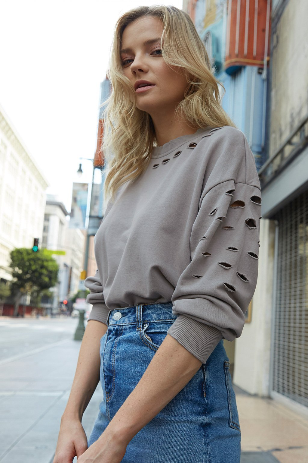 Poshsquare Tops XS / Taupe Lucca Distressed Sweatshirt