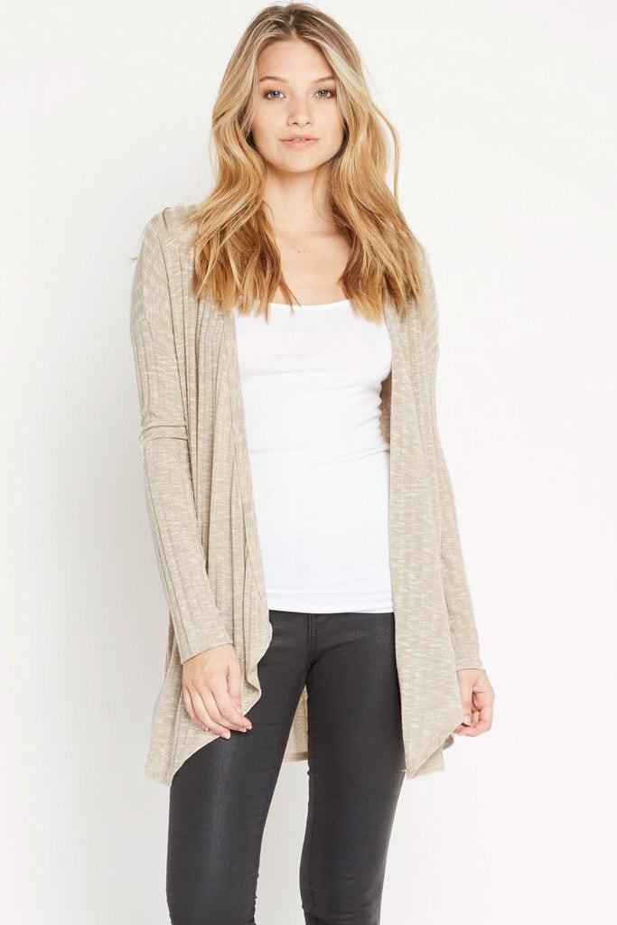 Poshsquare Tops XS / Taupe Thinking Out Loud Sweater Ribbed Cardigan