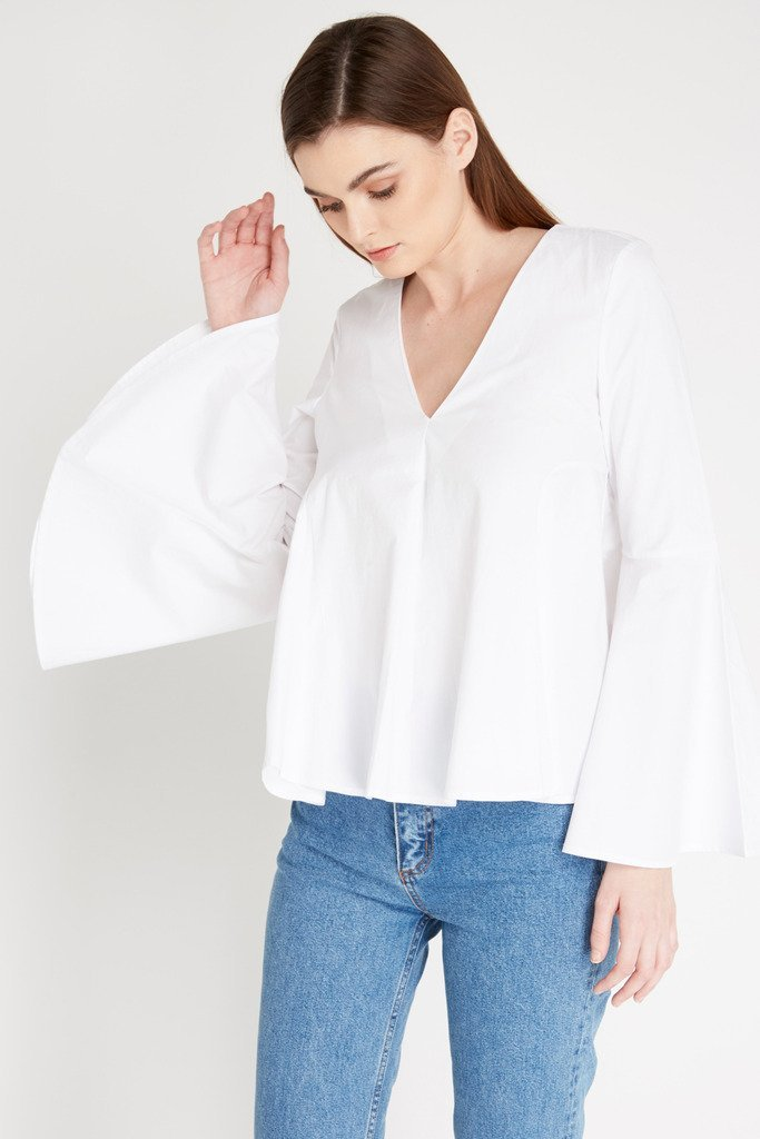 Poshsquare Tops XS / White White Simplicity Long Sleeve Top