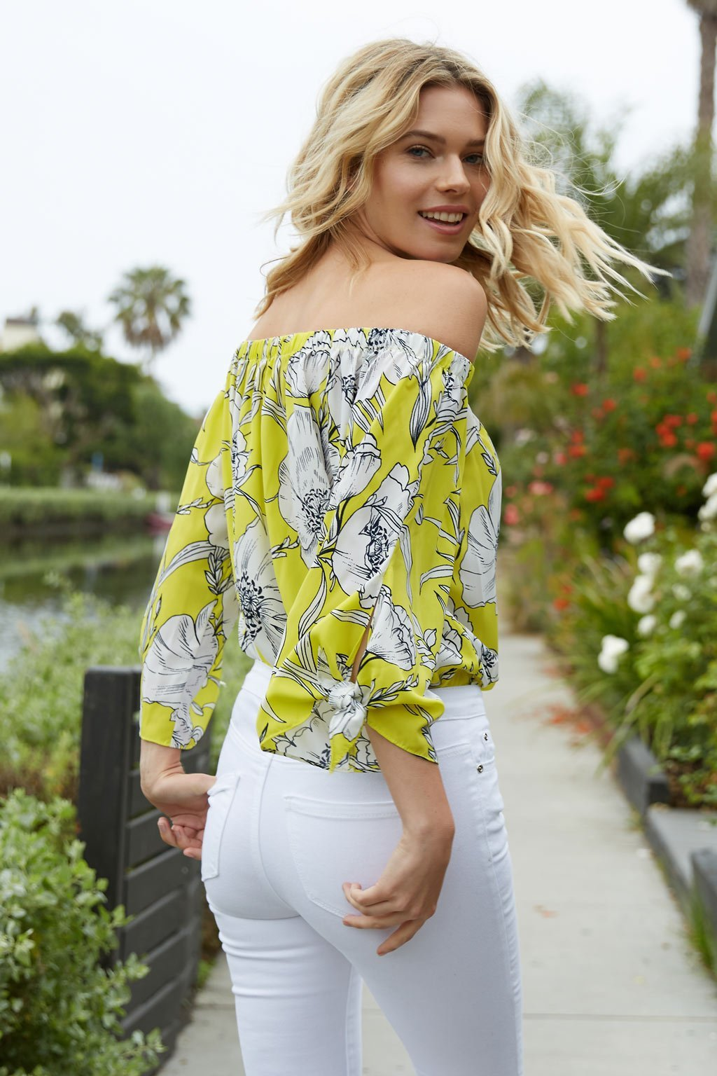Poshsquare Tops Yellow Floral Off the Shoulder Top