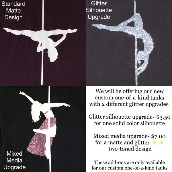 Custom one-of-a-kind silhouette tanks- Glitter Upgrade