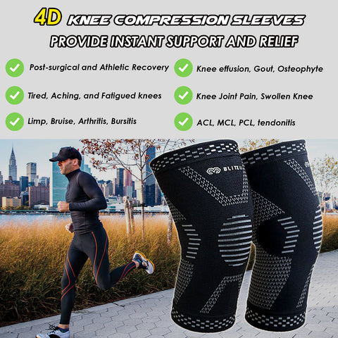 0018fa5a9a ... BLITZU MAX Compression Knee Brace for Joint Pain, ACL MCL Arthritis  Relief Improve Circulation Support ...