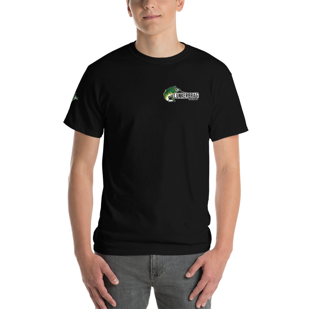 Lunkerbrag (smaller logo + bass on sleeve) Short Sleeve T-Shirt Black