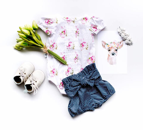 Paper Bag Bloomers - Navy Dot - Moocuzzi